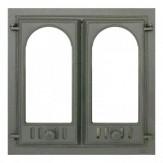 Каминное и печное литье 400 SVT каминная дверца со стеклом(двухстворчатая)
