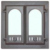 Дверца каминная со стеклом  2-х створчатая 301 LK (410х410)