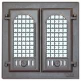 Дверца каминная 2-х створчатая с решеткой 302 LK (410х410)