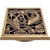"Декоративная решётка для трапа Bronze de lux ""Рыбы"" (100х100мм.) арт.21980"