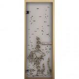 Дверь для бани LK сатин матовая Рыбка 1900*700 коробка хвоя