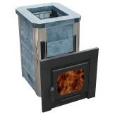 Варвара Мини Сказка печь для бани кожух из талькохлорита,  удлиненная топка, панорамная дверь