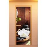 Стеклянная дверь для бани и сауны Aldo с фотопечатью 690х1890мм, Серия спа коробка из ольхи и березы