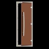 Дверь для бани и сауны Sawo 741-4SGA-1 стекло бронза, коробка осина, с порогом, ручка вертикальная, изогнутая