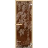 Дверь из стекла для саун и бань АКМА 700*1900 рисунок Дерево с водой монохром