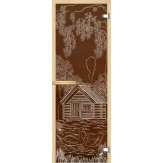 Дверь из стекла для саун и бань АКМА 700*1900 рисунок Дом с лебедями монохром