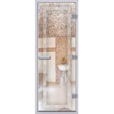 Стеклянная дверь в хамам АКМА 60G прозрачная с рисунком Меандр 690*1890