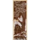 Дверь из стекла для саун и бань АКМА 700*1900 рисунок Медведь монохром
