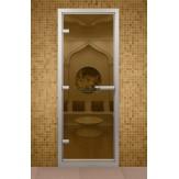 Стеклянная дверь для турецкой бани хамама Aldo Бронза прозрачная 790*1890 с порогом