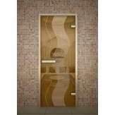 Стеклянная дверь для турецкой бани хамама Aldo Бронза прозрачная 690*1890 без порога