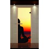 Стеклянная дверь для бани и сауны Aldo Стандарт 690х2090 фотопечать на выбор, коробка бук, стекло сатин