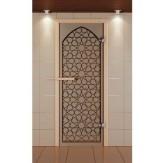 Стеклянная дверь для бани и сауны Aldo Стандарт 790х2090 с рисунком на выбор, коробка бук, стекло бронзовое