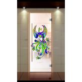 Стеклянная дверь для бани и сауны Aldo Оптима 690*1890 с контурной фотопечатью на выбор, стекло сатин, коробка бук