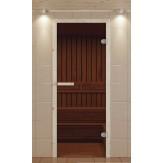 Стеклянная дверь для бани и сауны Aldo 690*1890 коробка ель стекло бронзовое