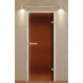 Стеклянная дверь для бани и сауны Aldo 690*1890 коробка ель стекло бронзовое матовое