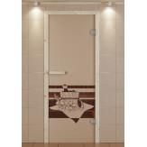 Стеклянная дверь для бани и сауны Aldo 690*1890 коробка ель стекло с рисунком на выбор