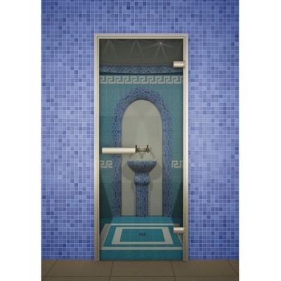 Стеклянная дверь для турецкой бани хамама Aldo серия Лайт прозрачная 690*1890
