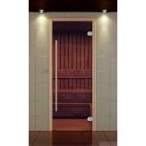 Стеклянная дверь для бани и сауны Оптима 690*1890 стекло бронза, коробка бук