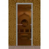 Стеклянная дверь для турецкой бани хамама Aldo Бронза прозрачная 790*1990 без порога