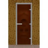 Стеклянная дверь для турецкой бани хамама Aldo Бронза матовая 690*1890 без порога