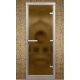 Стеклянная дверь для турецкой бани хамама Aldo Бронза матовая 690*1990 с порогом