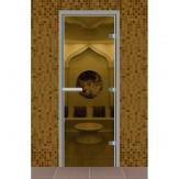 Стеклянная дверь для турецкой бани хамама Aldo прозрачная 690*1890 без порога