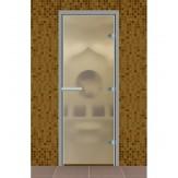 Стеклянная дверь для турецкой бани хамама Aldo сатин 790*1990 без порога