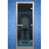 Стеклянная дверь для турецкой бани хамама Aldo цвет сатин 790*1990 с порогом