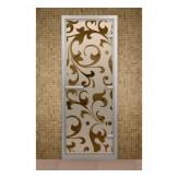 Стеклянная дверь для турецкой бани хамама Aldo с рисунком на стекле 790*2090