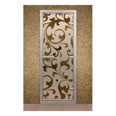 Стеклянная дверь для турецкой бани хамама Aldo с рисунком на стекле 790*1990
