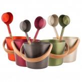 Ведро для бани и сауны алюминиевое с гнутой бамбуковой ручкой Rento Cranberry red, артикул 227176