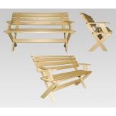 Скамейка со складной спинкой для бани(1250*320*450) ТМ Бацькина баня