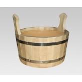 Ушат для бани деревянный из липы 10л со вставкой из пластика