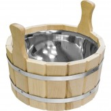 Шайка для бани деревянная со вставкой из нержавеющей стали 10л
