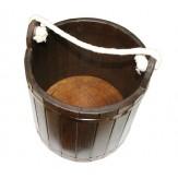 Ведро для бани деревянное темное из липы 25 л