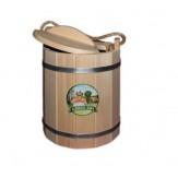 Ведро с крышкой для бани деревянное из липы с пластиковой вставкой 13 л