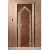 Дверь для бани и сауны DoorWood стекло с рисунком цвет бронза 190*70 коробка хвоя магнит