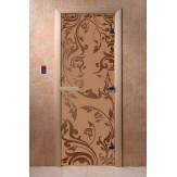 Дверь для бани и сауны DoorWood стекло с рисунком, цвет бронза матовая 200*80 коробка ольха
