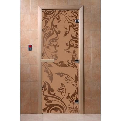 Дверь для бани и сауны DoorWood стекло с рисунком, цвет бронза матовая 200*70 коробка ольха