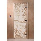 Дверь для бани и сауны DoorWood стекло с рисунком, цвет сатин 200*80 коробка ольха