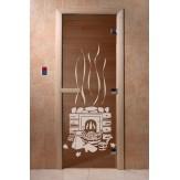 Дверь для бани и сауны DoorWood стекло с рисунком банька 190*70 коробка хвоя