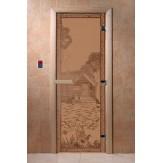 Дверь для бани и сауны DoorWood стекло с рисунком березка 190*70 коробка хвоя