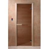 Дверь для бани и сауны DoorWood стекло прозрачное цвет бронза 190*70 коробка хвоя магнит