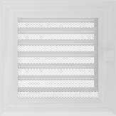 Вентиляционная решетка Kratki каминная Оскар белая с жалюзи (17*17) 17OBX
