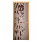 Стеклянная дверь для бани и сауны коробка осина цвет сатин рисунок бамбук 1900*700 мм 3 петли 710 левая