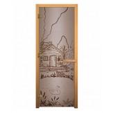 Стеклянная дверь для бани и сауны коробка бук цвет сатин рисунок банька 1900*700 мм 3 петли 710 правая