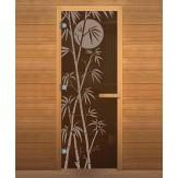 Стеклянная дверь для бани и сауны коробка осина цвет бронза рисунок бамбук 1900*700 мм 3 петли 710