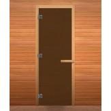 Стеклянная дверь для бани и сауны коробка хвоя цвет бронза матовая 1900*700 мм 3 петли 715