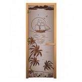 Стеклянная дверь для бани и сауны коробка осина цвет сатин рисунок лагуна 1900*700 мм 3 петли 710 правая
