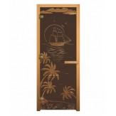 Стеклянная дверь для бани и сауны коробка осина цвет бронза матовая рисунок лагуна 1900*700 мм 3 петли 716 gb левая
